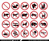 Set of animal prohibition signs. Vector illustration. Collection of signs that ban animal presence. Animal entrance is not allowed. Vector illustration. poster