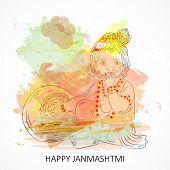 illustration of a Baby Krishna for Happy Janmashtami. poster