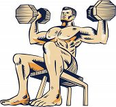 Etching engraving handmade style illustration of an athlete performing high intensity interval training lifting dumbbell viewed from front on low angle. poster
