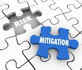 Risk Mitigation words on puzzle pieces to illustrate reducing problems, trouble, dangers or hazards and increase security and protection from harm poster