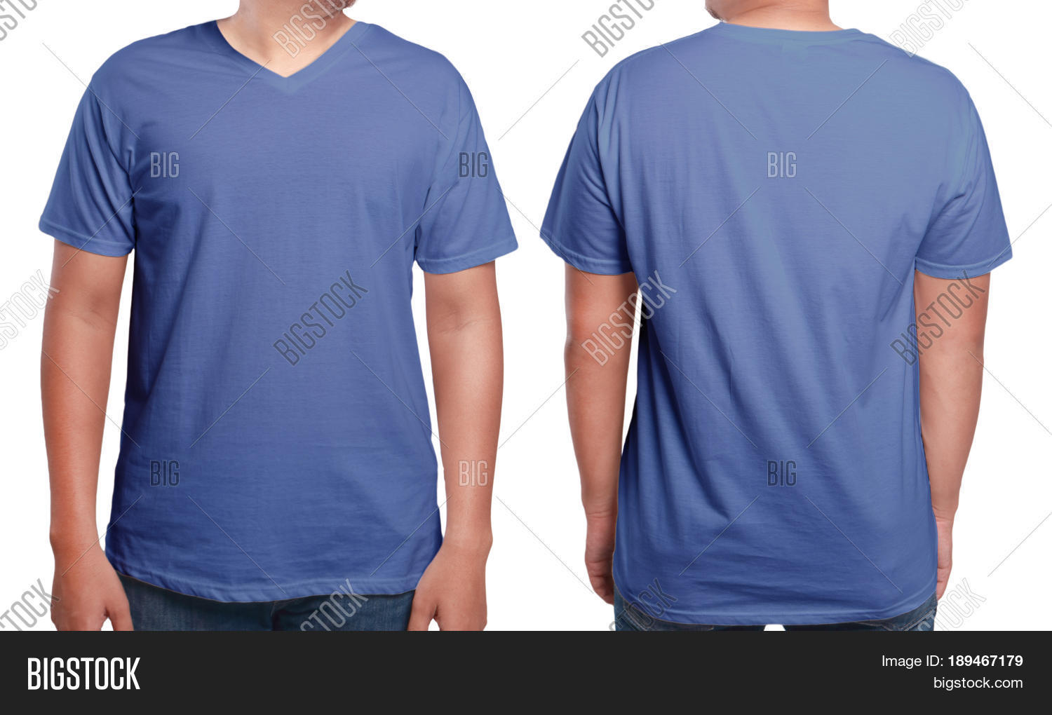 Blue t shirt mock front back view image photo bigstock for T shirt template with model