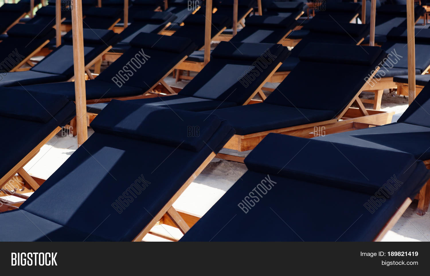 Rows Sunbeds Under Image Photo Free Trial Bigstock