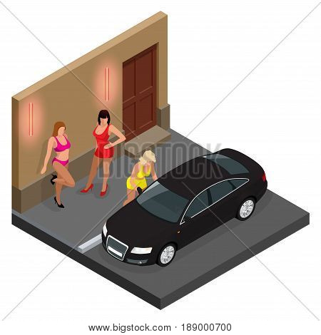 Prostitute in short skirt talking to a client sitting in a car and prostitutes waiting for client on the street. Isometric vector illustration.