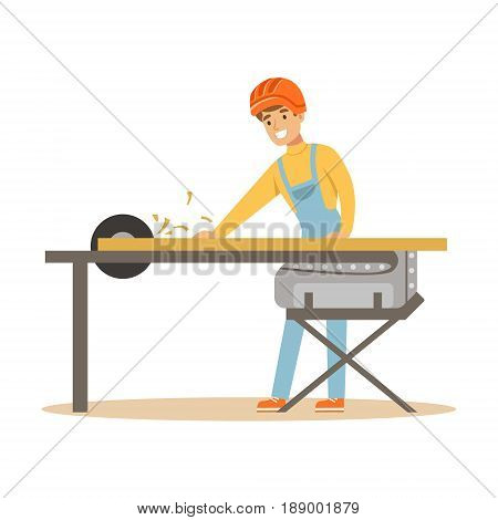 Carpenter man cutting a wooden plank by circular saw, professional wood jointer character vector Illustration isolated on a white background