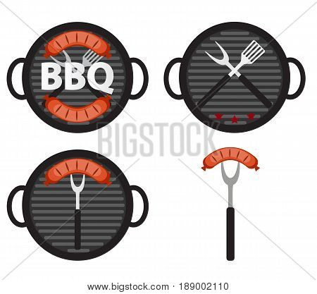 BBQ Icon Set with Grill Tools and Sausage. Vector Illustration EPS10