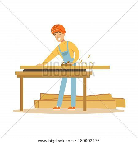 Young carpenter man working with wood in his workshop, professional wood jointer character vector Illustration isolated on a white background