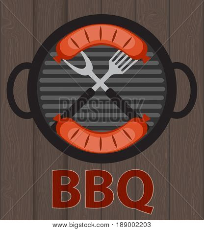 BBQ Icon with Grill Tools and Sausage on Wooden Background. Vector Illustration EPS10