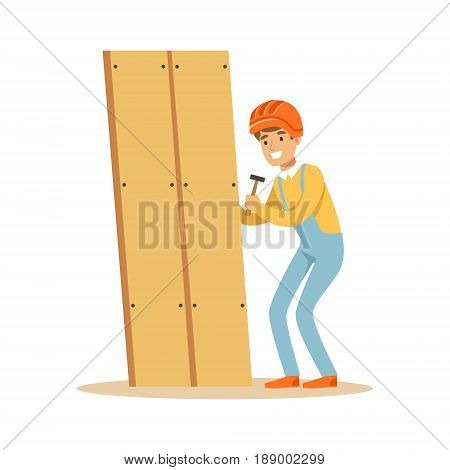 Young smiling carpenter man building new furniture, woodworker character vector Illustration isolated on a white background