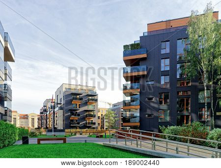 Vilnius, Lithuania - September 30, 2016: Modern glass apartment residential buildings. And outdoor facilities.