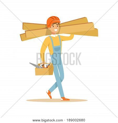 Smiling carpenter carrying box of tools and wooden planks, professional wood jointer character vector Illustration isolated on a white background