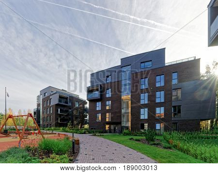 Vilnius, Lithuania - September 30, 2016: Children playground at Modern complex of residential buildings. And outdoor facilities.