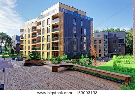Vilnius, Lithuania - September 30, 3016: Benches at Modern complex of apartment residential buildings. And outdoor facilities.
