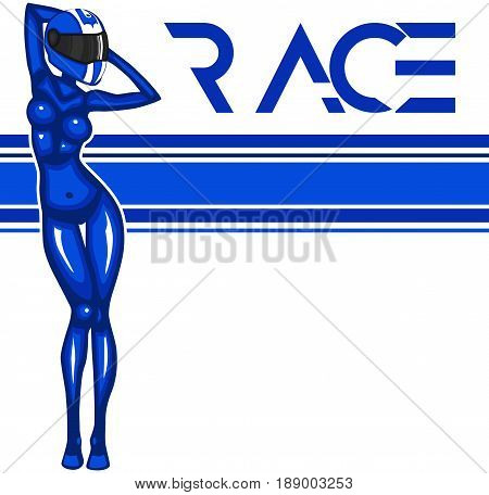 Rally race banner with girl in moto helmet. Sports competition vector illustration.