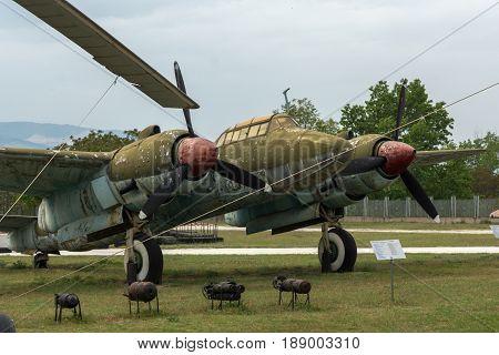KRUMOVO, PLOVDIV, BULGARIA - 29 APRIL 2017: Bomber Tupolev Tu-2 in Aviation Museum near Plovdiv Airport, Bulgaria