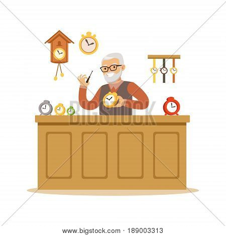 Bearded senior man repairing watches, watchmaker craft hobby or profession colorful character vector Illustration isolated on a white background