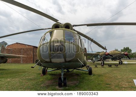 KRUMOVO, PLOVDIV, BULGARIA - 29 APRIL 2017:  Helicopter Mil Mi-8 in Aviation Museum near Plovdiv Airport, Bulgaria