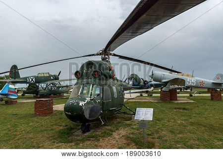 KRUMOVO, PLOVDIV, BULGARIA - 29 APRIL 2017:  Transport helicopter Mil Mi-8 in Aviation Museum near Plovdiv Airport, Bulgaria
