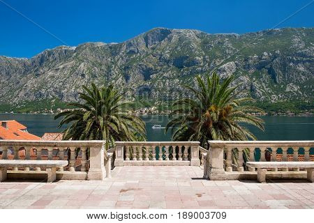 View on Kotor Bay from Birth of Our Lady church in Prcanj Montenegro