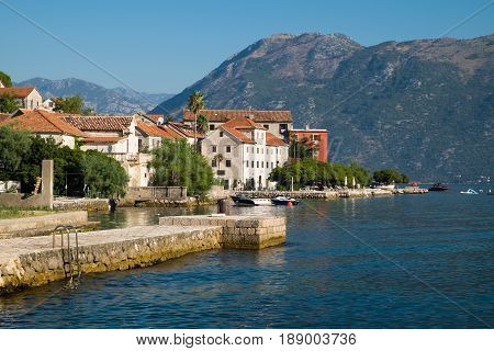 Small town Prcanj in Kotor Bay Montenegro