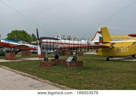 KRUMOVO, PLOVDIV, BULGARIA - 29 APRIL 2017: Plane Yakovlev Yak-52 in Aviation Museum near Plovdiv Airport, Bulgaria
