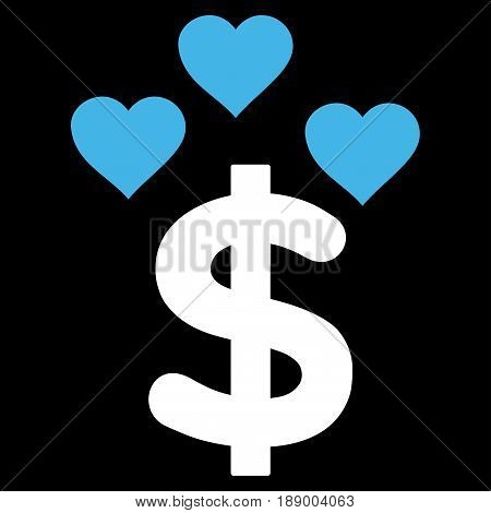 Lovely Dollar flat icon. Vector bicolor blue and white symbol. Pictogram is isolated on a black background. Trendy flat style illustration for web site design, logo, ads, apps, user interface.