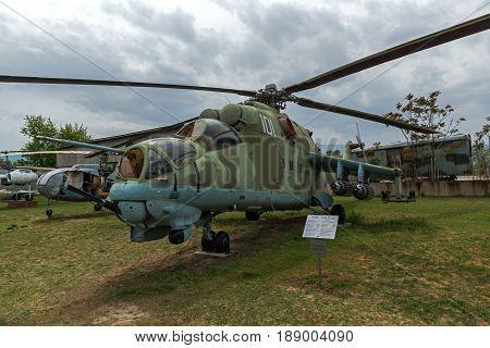 KRUMOVO, PLOVDIV, BULGARIA - 29 APRIL 2017: Helicopter Mil Mi-24 in Aviation Museum near Plovdiv Airport, Bulgaria