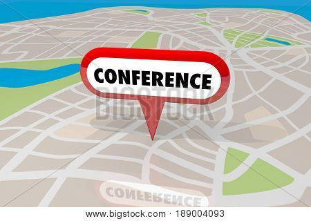 Conference Venue Location Map Pin Trade Show Event 3d Illustration