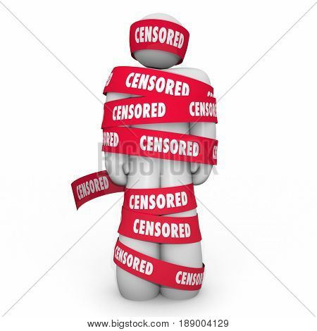 Censored Man Wrapped Tape Censorship Free Speech 3d Illustration