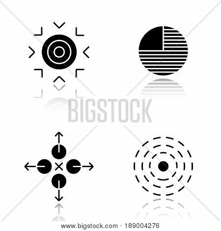 Abstract symbols drop shadow black icons set. Goal, part, directions, influence concepts. Isolated vector illustrations