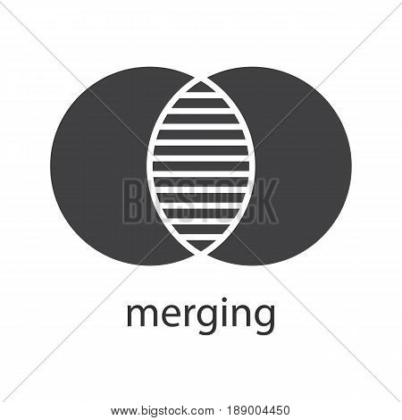 Merging glyph icon. Silhouette symbol. Cell absorption. Integration abstract metaphor. Negative space. Vector isolated illustration