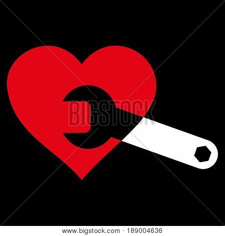 Heart Surgery Wrench flat icon. Vector bicolor red and white symbol. Pictogram is isolated on a black background. Trendy flat style illustration for web site design, logo, ads, apps, user interface.