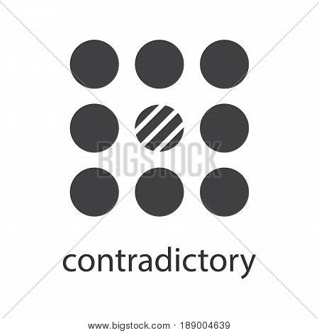 Contradictory glyph icon. Silhouette symbol. Abstract metaphor. Negative space. Vector isolated illustration