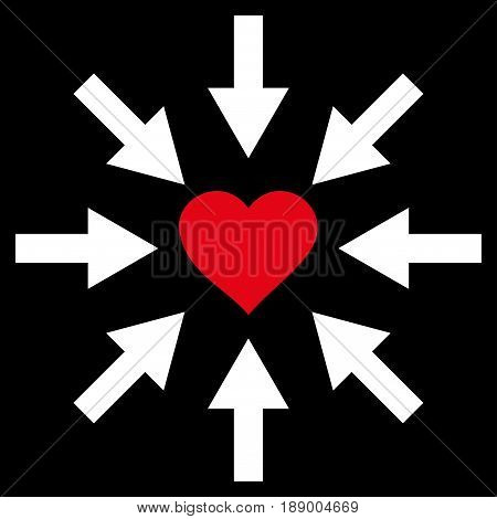 Impact Love Heart flat icon. Vector bicolor red and white symbol. Pictogram is isolated on a black background. Trendy flat style illustration for web site design, logo, ads, apps, user interface.