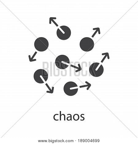 Chaos glyph icon. Silhouette symbol. Chaotic movement. Negative space. Vector isolated illustration