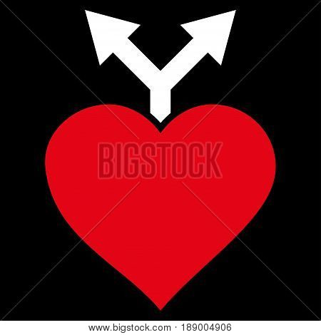 Love Variants flat icon. Vector bicolor red and white symbol. Pictograph is isolated on a black background. Trendy flat style illustration for web site design, logo, ads, apps, user interface.