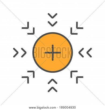 Attraction abstract symbol color icon. Positively charged electron. Isolated vector illustrations