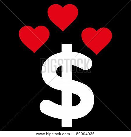 Lovely Dollar flat icon. Vector bicolor red and white symbol. Pictograph is isolated on a black background. Trendy flat style illustration for web site design, logo, ads, apps, user interface.