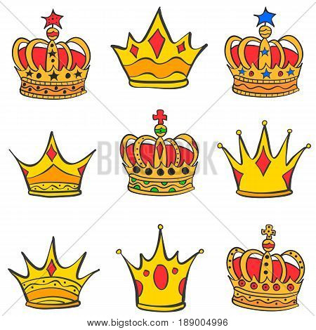 Collection stock of gold crown style vector art
