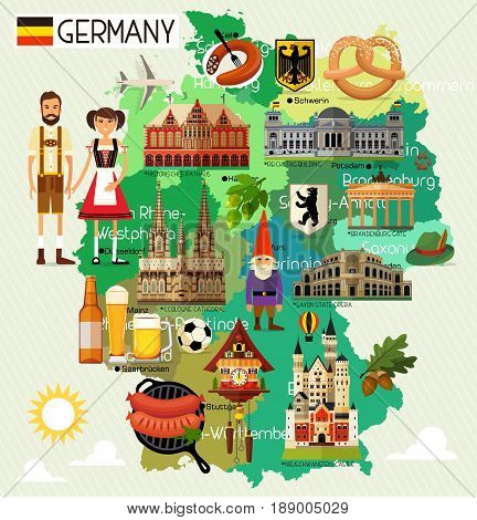 Map of Germany and Travel Icons.Germany Travel Map. Vector Illustration.