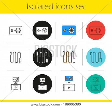 Action camera icons set. Linear, black and color styles. Mini USB cable, action camera to smartphone wireless connection. Isolated vector illustrations