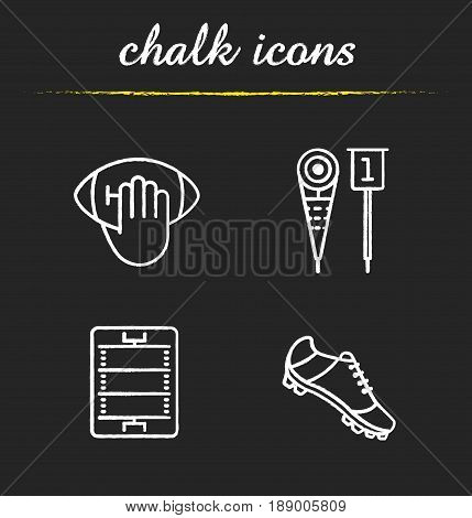 American football chalk icons set. Hand holding ball, player's shoe, sideline markers, field. Isolated vector chalkboard illustrations