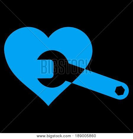 Heart Surgery Wrench flat icon. Vector blue symbol. Pictogram is isolated on a black background. Trendy flat style illustration for web site design, logo, ads, apps, user interface.