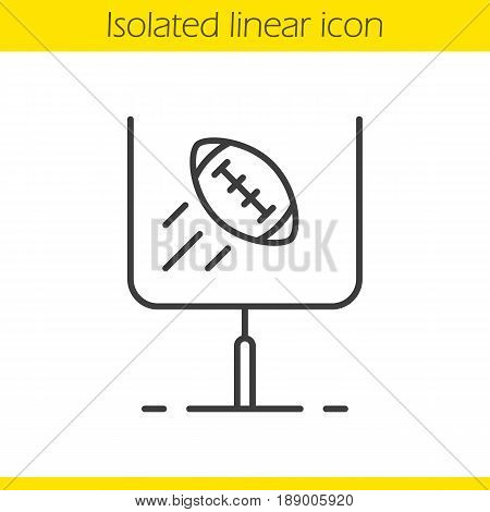 American football or rugby goal linear icon. Thin line illustration. Flying ball in gates contour symbol. Vector isolated outline drawing