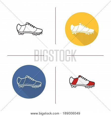 Cleat icon. Flat design, linear and color styles. American football, rugby, soccer, baseball player's shoe. Isolated vector illustrations