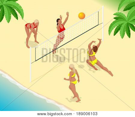 Beach volley ball player jumps on the net and tries to blocks the ball. Summer active holiday concept. Vector isometric illustration.