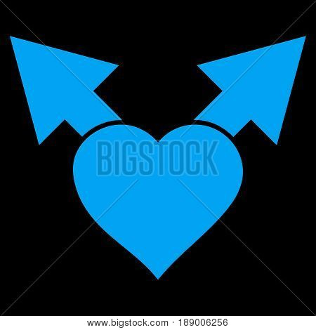 Love Variant Arrows flat icon. Vector blue symbol. Pictograph is isolated on a black background. Trendy flat style illustration for web site design, logo, ads, apps, user interface.