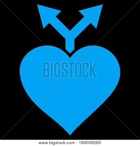 Love Variants flat icon. Vector blue symbol. Pictograph is isolated on a black background. Trendy flat style illustration for web site design, logo, ads, apps, user interface.