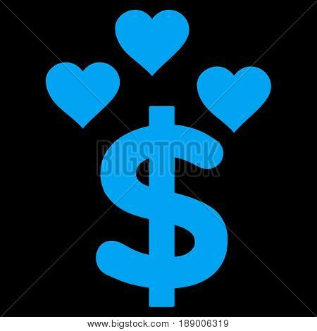 Lovely Dollar flat icon. Vector blue symbol. Pictogram is isolated on a black background. Trendy flat style illustration for web site design, logo, ads, apps, user interface.