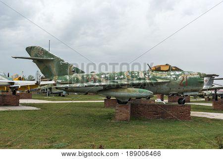 KRUMOVO, PLOVDIV, BULGARIA - 29 APRIL 2017: Fighter Mikoyan-Gurevich MiG-17 Aviation Museum near Plovdiv Airport, Bulgaria