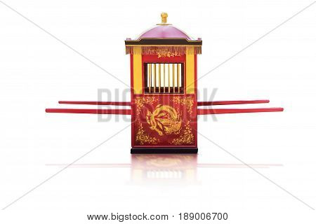 Traditional Chinese culturePalanquin carrying the bride isolated on white background with clipping path.